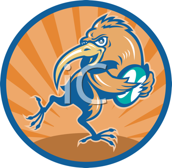 Royalty Free Clipart Image of a Kiwi With a Rugby Ball