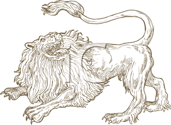 Royalty Free Clipart Image of a Roaring Lions