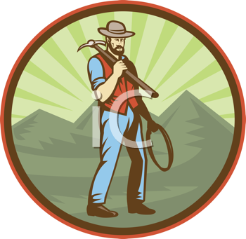 Royalty Free Clipart Image of a Miner With a Pickax