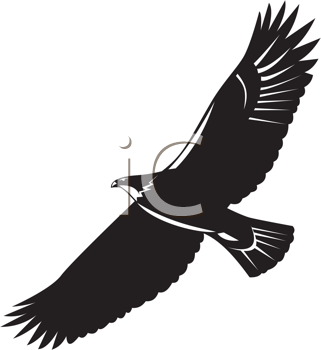 Royalty Free Clipart Image of a Silhouette of an Eagle