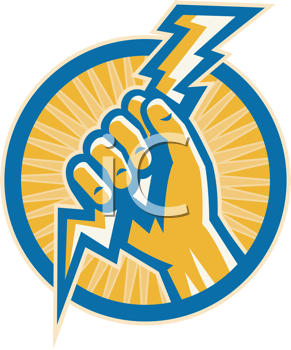Royalty Free Clipart Image of a Hand Holding a Lightning Bolt