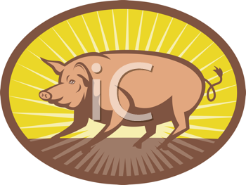 Royalty Free Clipart Image of a Pig By a Sunrise