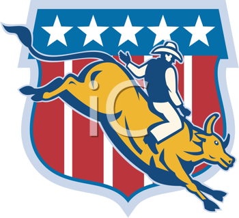Royalty Free Clipart Image of a Cowboy Riding a Bull in Front of Stars and Stripes