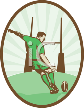 Royalty Free Clipart Image of a Rugby Player About to Kick the Ball