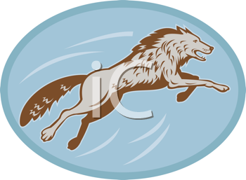 Royalty Free Clipart Image of a Lunging Wolf
