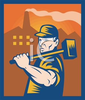 Royalty Free Clipart Image of a Guy Carrying a Sledgehammer