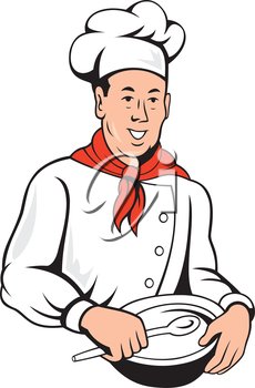 Illustration of a chef, cook or baker done in retro style on isolated white background.