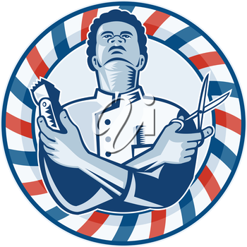 Illustration of an african american barber with arms crossed holding a hair clipper and a pair of scissors with circular barber's  pole on isolated white background.
