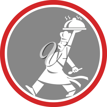 Illustration of a chef, cook or baker holding serving plate platter of food set inside circle walking viewed from side done in retro style.
