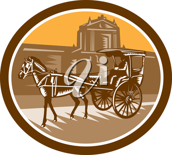 Illustration of a horse-drawn carriage or calash in frontr of the walled city in Intramuros,Manila, Philippines set inside oval done in retro woodcut style.