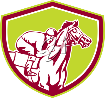 Illustration of horse and jockey racing viewed from the side set inside shield crest shape on isolated background done in retro style.