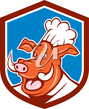 Illustration of a wild pig boar chef cook head set inside shield crest on isolated background done in cartoon style.