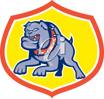 Illustration of an bulldog dog mongrel attacking set inside shield crest done in retro style on isolated background.