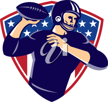 vector illustration of an american quarterback football player passing ball set inside shield with stars done in retro style.