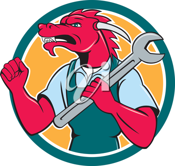 Illustration of a red dragon mechanic facing side holding spanner on shoulder making fist pump set inside circle on isolated background done in cartoon style.