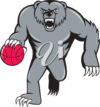 Illustration of a grizzly bear angry growling dribbling basketball viewed from front set on isolated white background done in cartoon style.
