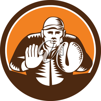 Illustration of a baseball catcher with gloves facing front set inside circle on isolated background done in retro woodcut style.