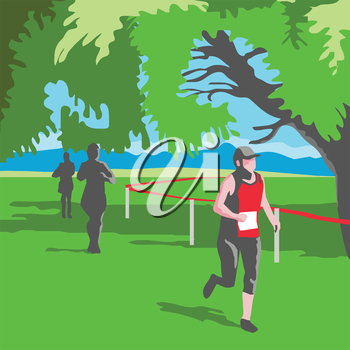 WPA style illustration of a marathon runner running with trees and other runners in the background done in retro style.