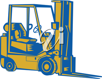 Illustration of a forklift truck viewed from the side set on isolated white background done in retro woodcut sytle.