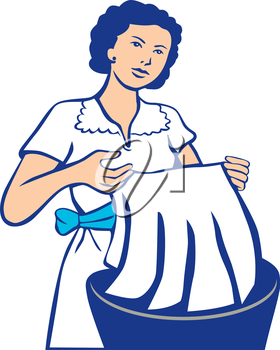 Illustration of a housewife washing laundry in basin viewed from the front set on isolated white background done in retro style.
