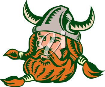Illustration of a norseman viking warrior raider barbarian head wearing horned helmet with beard set on isolated white background done in retro woodcut style.