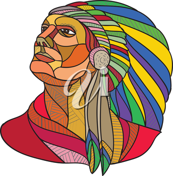 Drawing sketch style illustration of a native american indian chief warrior with headdress looking to the side set on isolated white background.