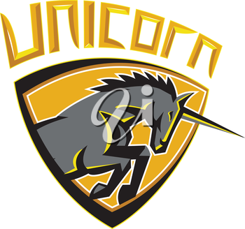 Illustration of a unicorn horse head charging viewed from the side set inside shield crest done in retro style with the word UNICORN above image