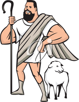 Illustration of a cartoon superhero shepherd holding shepherd's crook and a sheep standing beside looking to the side set on isolated white background done in cartoon style.