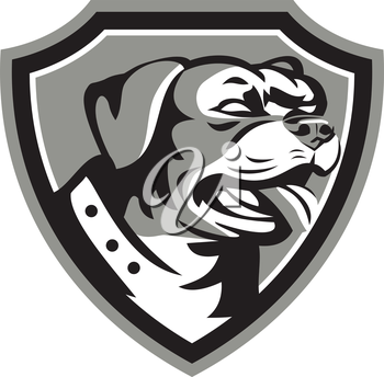 Black and white illustration of a Rottweiler Metzgerhund mastiff-dog guard dog head looking to the side set inside crest done in retro style.