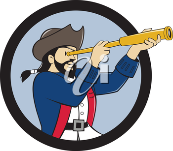 Illustration of a pirate looking into spyglass viewed from the side set inside circle done in cartoon style.
