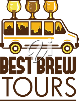 Illustration of  beer flight glass each holding a different beer type on top of van with cityscape buildings in the background viewed from the side with the words Best Brew Tours below set on isolated