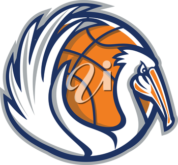 Illustration of a pelican showing its wings with basketball in the background viewed from the side done in retro style.