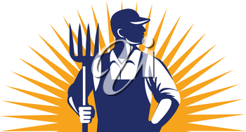 Illustration of organic farmer holding pitchfork looking to the side with one hand in pocket viewed from front with sunburst in the background done in retro style.