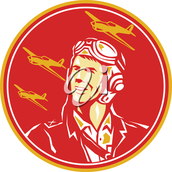 Illustration of a world war two pilot airman aviator smiling looking to the side with fighter planes in the background set inside circle done in retro style.