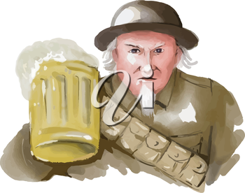 Watercolor style illustration of Uncle Sam as soldier wearing World War one 1 uniform toasting a mug of beer viewed from front on isolated white background.