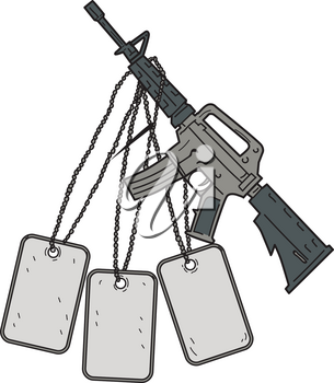 Drawing sketch style illustration of an  M4, an air-cooled, direct impingement gas-operated, magazine-fed carbine used by United States Army and US Marine Corps combat units as the primary infantry we