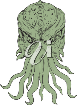 Drawing sketch style illustration of a head of a subterranean mythical sea monster with octopus-like head whose face has tentacles or feeler viewed from front set on isolated white background.