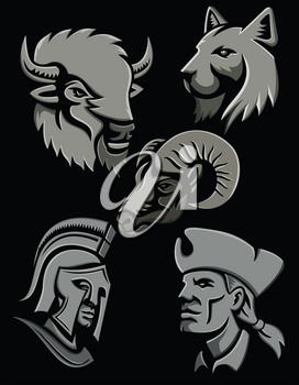 Metallic style flat icon or mascot illustration of a bison or buffalo, bobcat or lynx cat, bighorn sheep, Spartan warrior and an American patriot head on isolated black background.