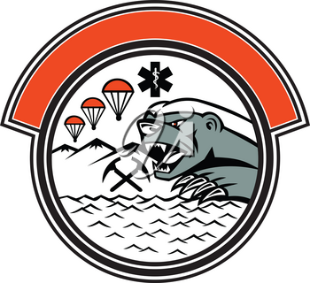Badge mascot illustration of head of a honey badger with paramedic symbol, air parachute, crossed ice axe, mountain and sea, set inside circle on isolated background in retro style.