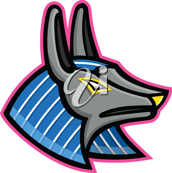 Mascot icon illustration of head of Anubis, an ancient Egyptian animal god of afterlife depicted as a man with a canine head of dog or jackal viewed from side on isolated background in retro style.
