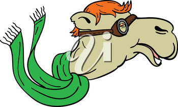 Mascot icon illustration of a camel wearing World War One aviator goggles and flowing green scarf viewed from side on isolated background in retro style.