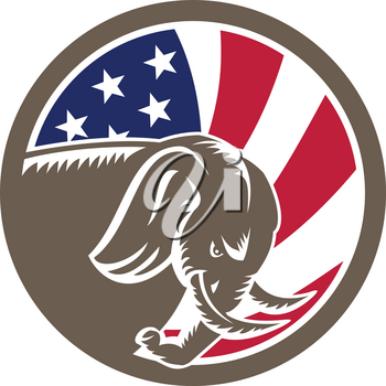 Mascot icon illustration of a Republican Elephant charging viewed from side with American USA stars and stripes star spangled banner flag on isolated background in retro style.