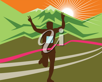 Retro style illustration of a silhouette of marathon race finisher runner flashing victory hand sign with snow capped mountains and sunburst and finish line ribbon tape in extra wide horizontal format.