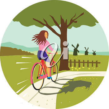 Retro style illustration of a girl riding a vintage cruiser bicycle looking back up towards tree with windmills set inside circle.
