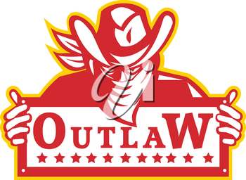 Retro style illustration of an outlaw or bandit with bandana covering his face holding a sign with text Outlaw on isolated background.