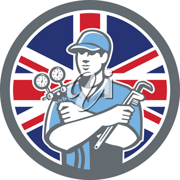 Icon retro style illustration of a British Refrigeration Mechanic, air conditioning or air-con serviceman holding manifold gauge with United Kingdom UK, Great Britain Union Jack flag set in circle.