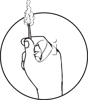 Drawing sketch style illustration of a hand holding a burning matchstick set inside circle on isolated white background.