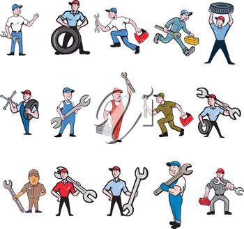Set or Collection of cartoon character style illustration of mechanic, technician, tireman, auto mechanic or industrial worker in full body on isolated white background.