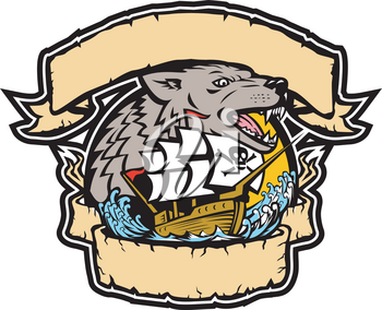 Retro style illustration of an angry seawolf or wolf head with galleon pirate ship below it framed from ribbon and banner on isolated background in full color.