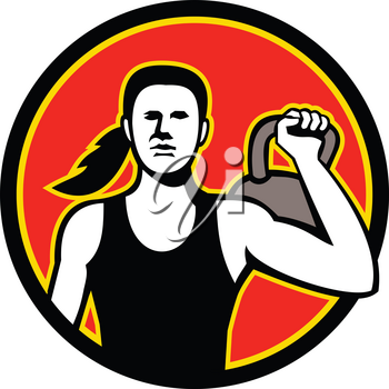 Mascot icon illustration of a female personal trainer lifting a kettlebell viewed from front set inside circle  on isolated background in retro style.